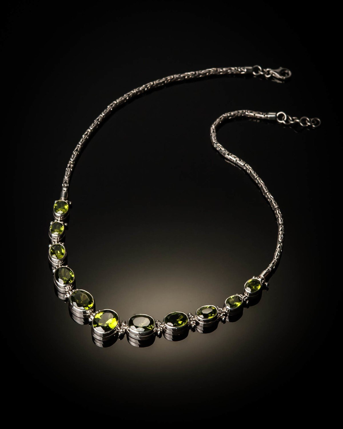 Sterling Silver Natural Peridot Necklace