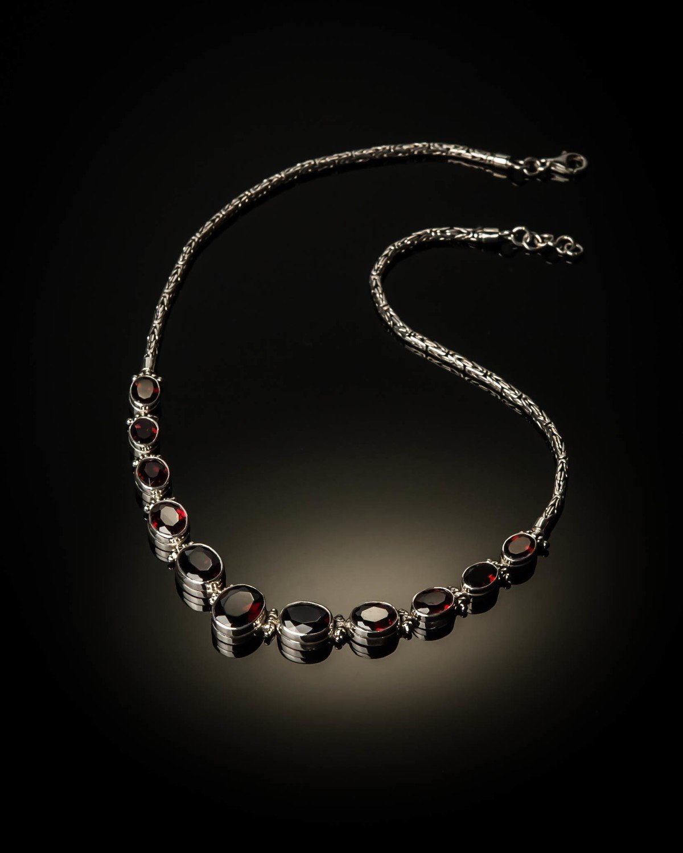Sterling Silver Natural Garnet Necklace