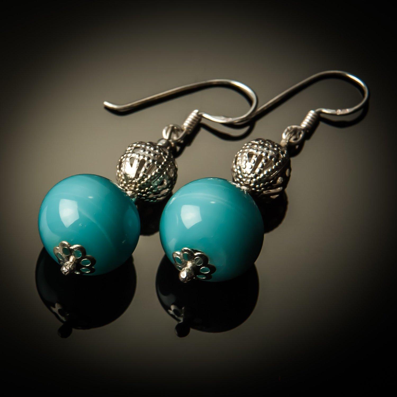 Blue Glass Bead Sterling Silver Earrings