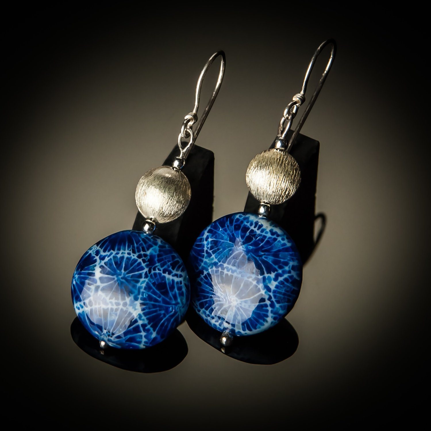 Blue Coral Sterling Silver Earrings