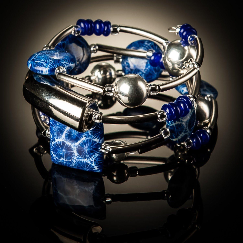 Blue Coral Twist Bracelet
