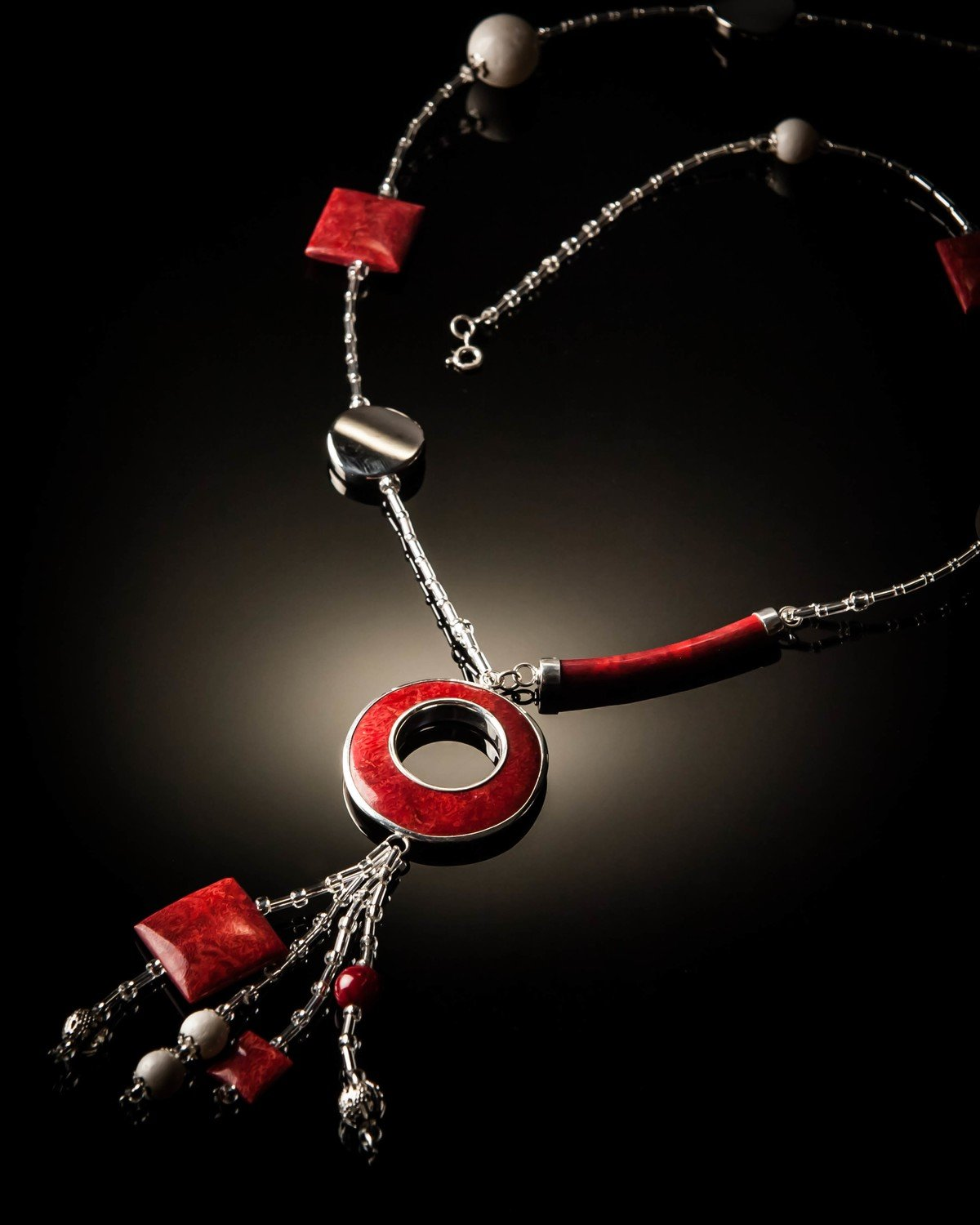 Red Coral Sterling Silver and White Coral