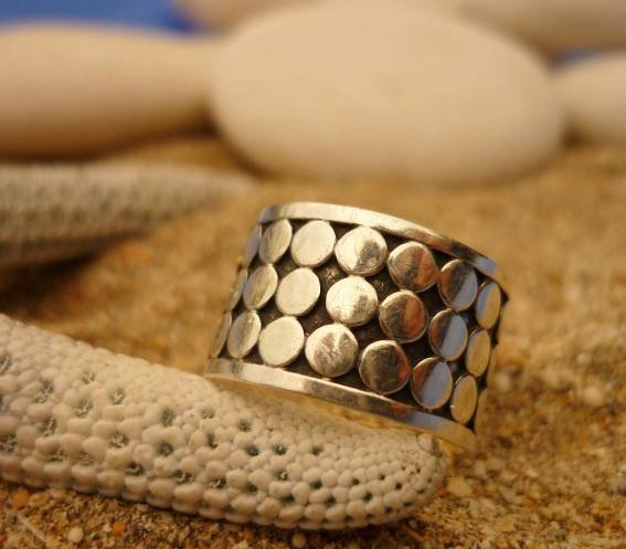 Sterling Silver Band with Bali Dot Style Ring