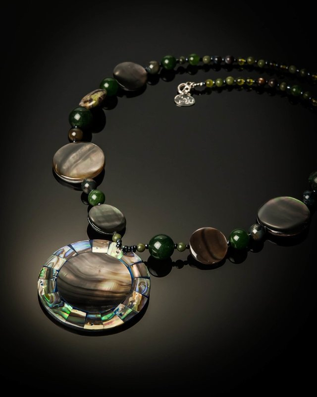 Gray Mother of Pearl with Abalone Necklace