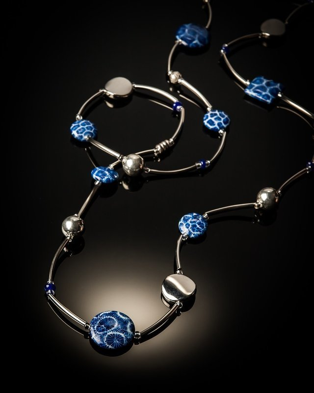Blue Coral Stainless Steel Necklace