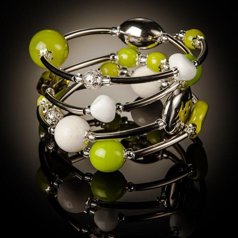 Green White Coral Twist Bracelet