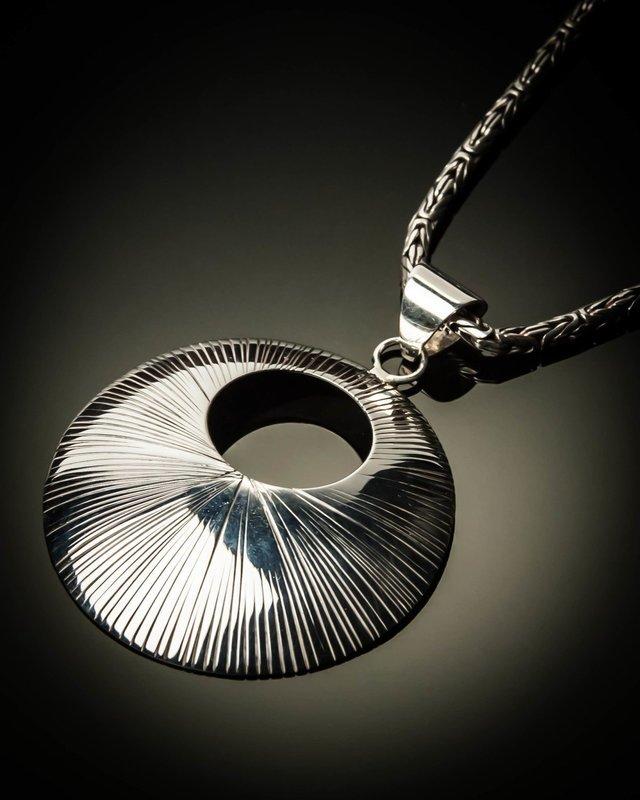 Sunburst Sterling Silver Open Pendant