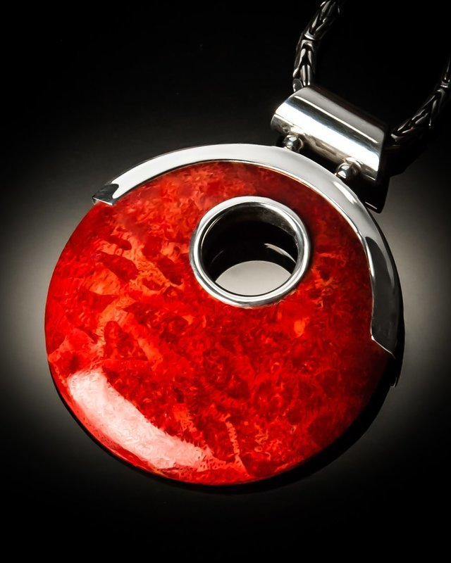 Red Coral Sterling Silver Open Design Pendant
