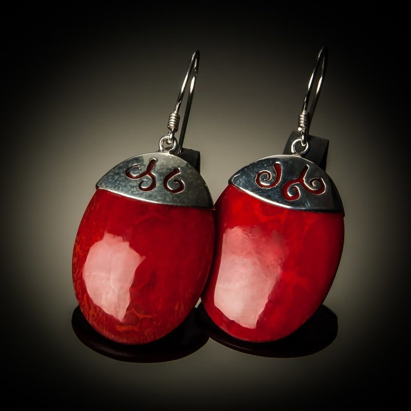 Red Coral Oval Sterling Silver Earrings