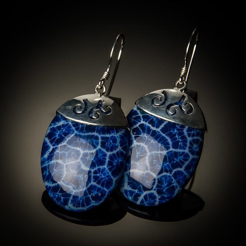 Blue Coral Oval Sterling Silver Earrings