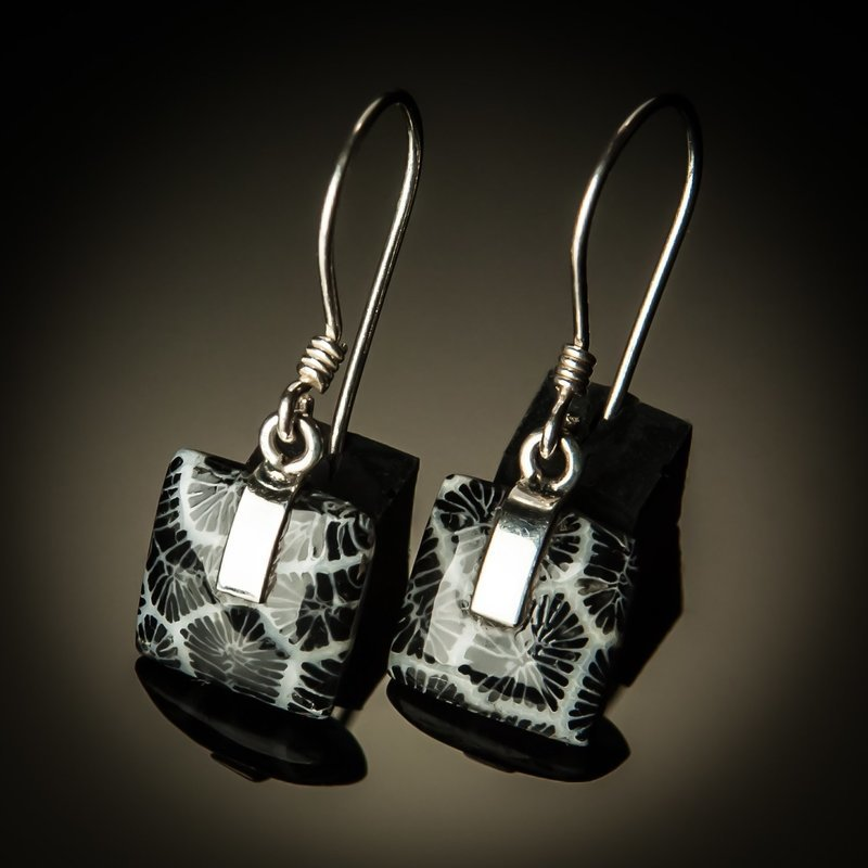 Black Coral Square Sterling Silver Earrings