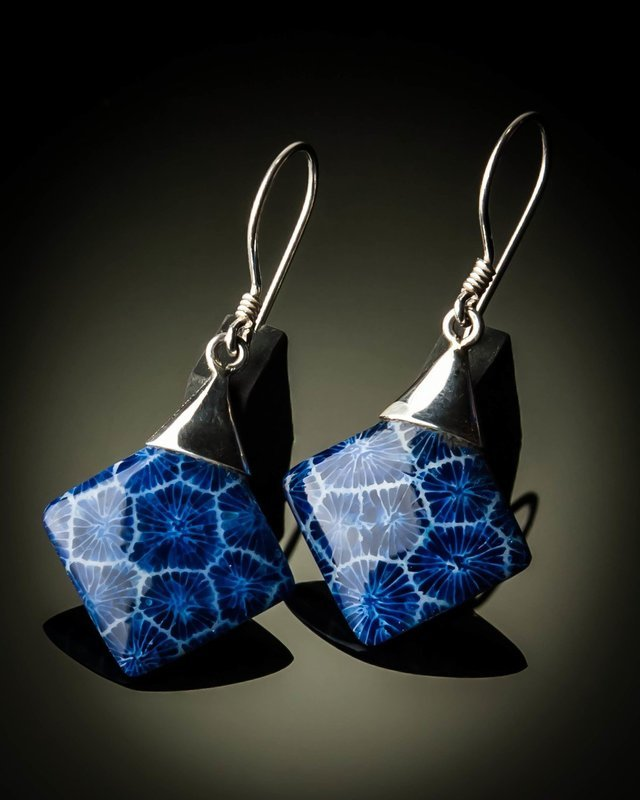 Blue Coral Diamond Shaped Sterling Silver Earrings