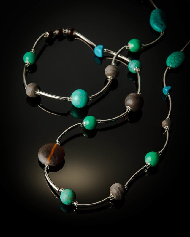 Turquoise Brown Long Necklace