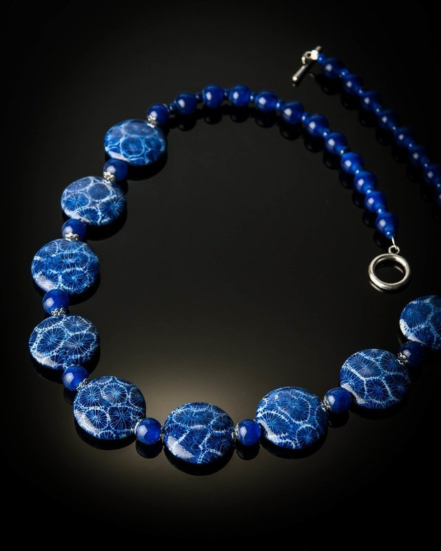Blue Coral Blue Glass Beads Large Necklace