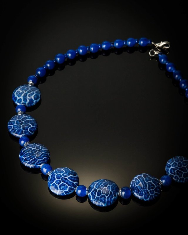 Blue Coral Blue Glass Beads Necklace