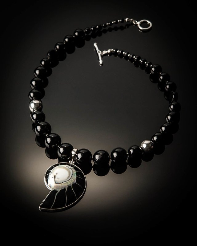 Black Agate Black Nautilus Shell Sterling Silver Necklace