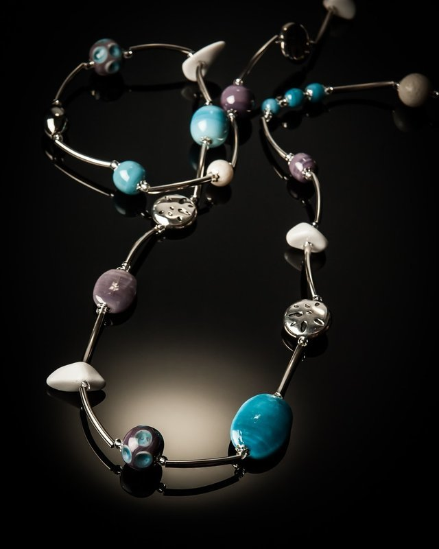 Mixed Purple Blue Glass Bead Stainless Steel Necklace