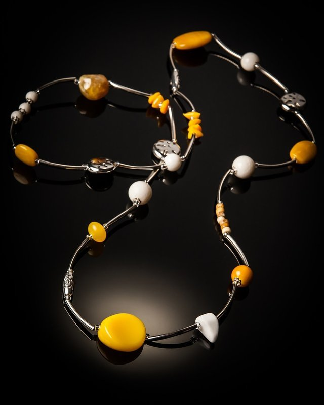 Yellow Glass Bead Stainless Steel Necklace