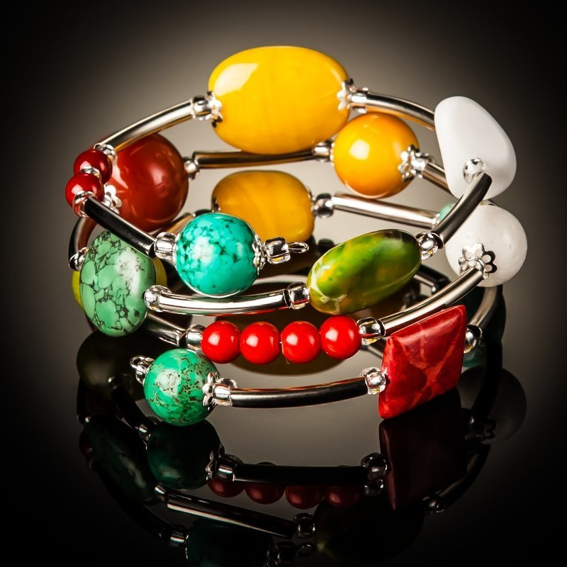 Turquoise Red Coral and Yellow Twist Bracelet
