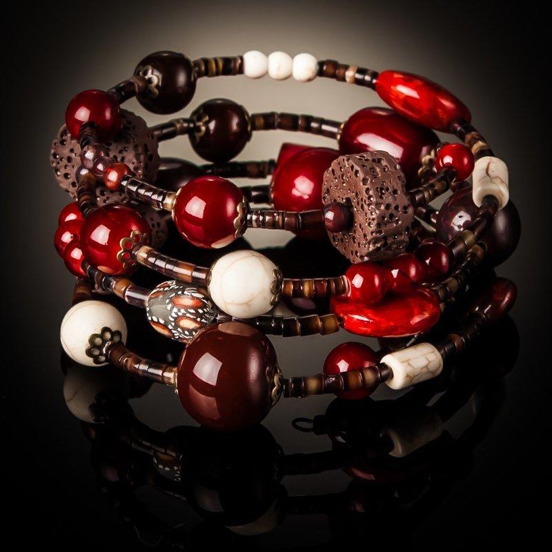 Red Coral Brown Bead Twist Bracelet