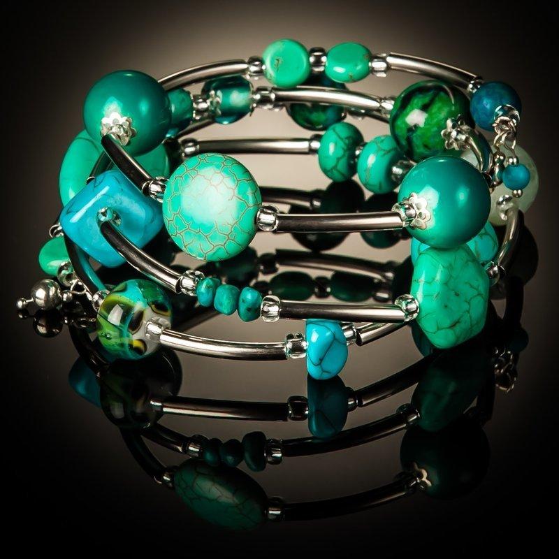 Turquoise Azurite Twist Bracelet