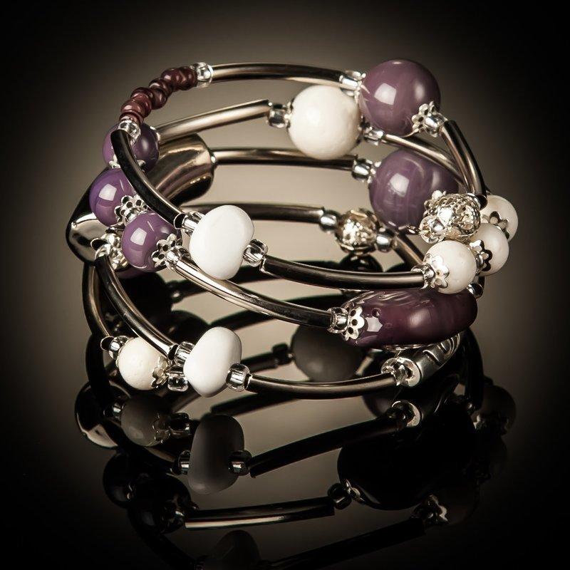 Purple White Coral Twist Bracel