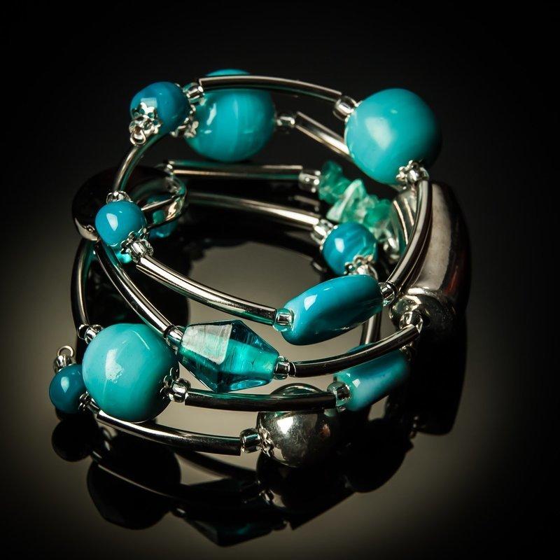 Light Blue Glass Twist Bracelet