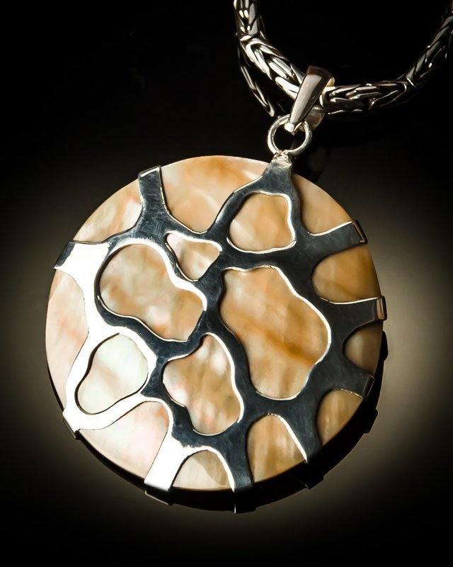 Brown Mother of Pearl Shell Sterling Silver Pendant