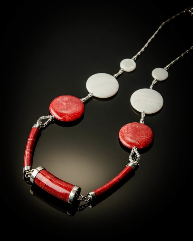 Red Coral White Mother of Pearl Necklace