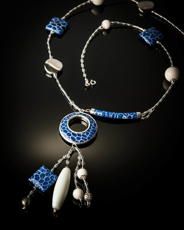 Blue Coral with Sterling Silver Mother of Pearl Necklace