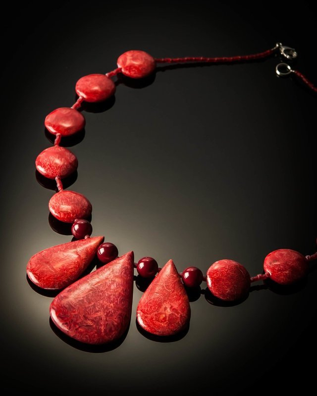 Red Coral Teardrop Necklace