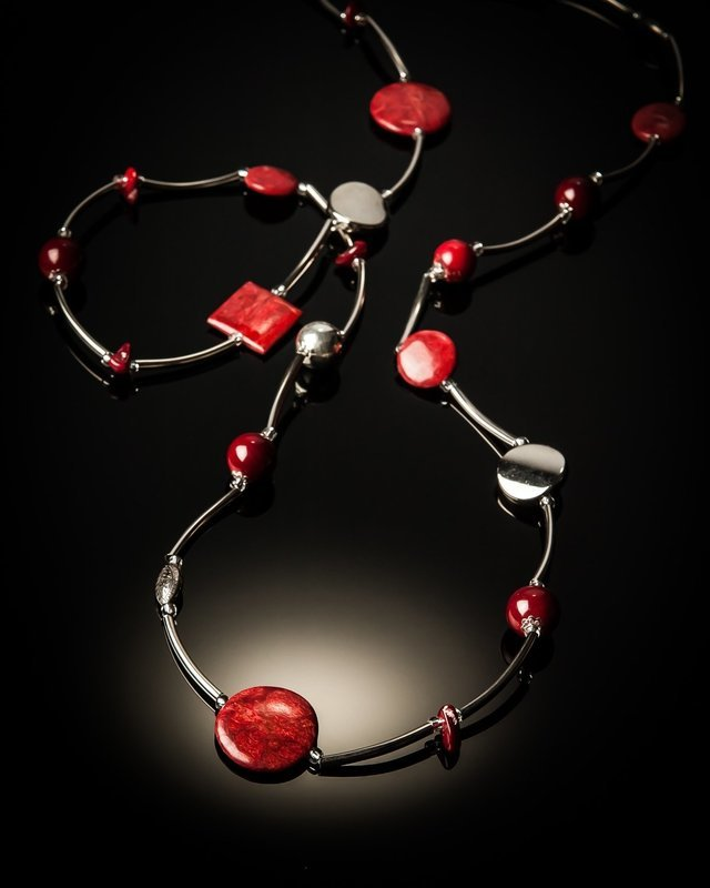 Red Coral Stainless Steel Necklace
