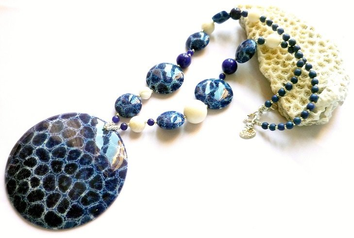 Blue Coral Pendant White Coral and Blue Coral Beads