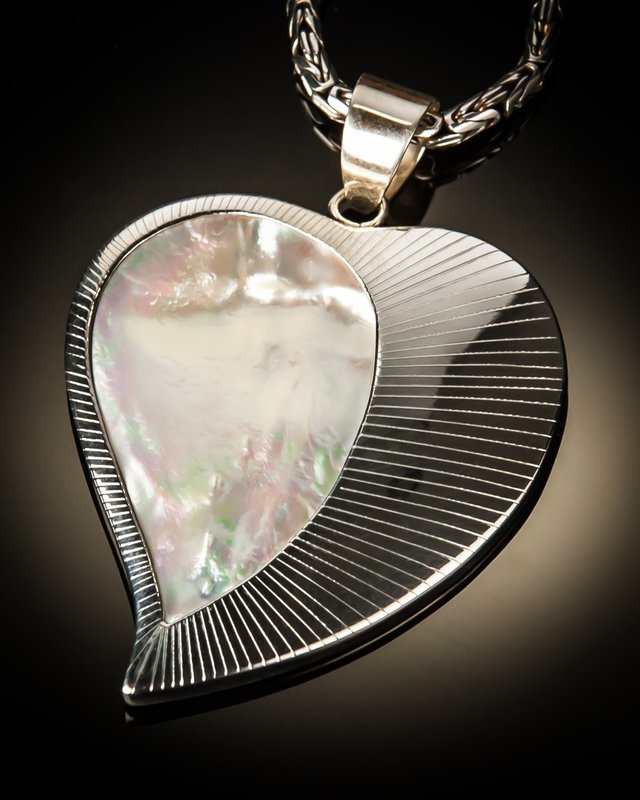 Mother of Pearl Heart with Sterling Silver Sunburst Pendant