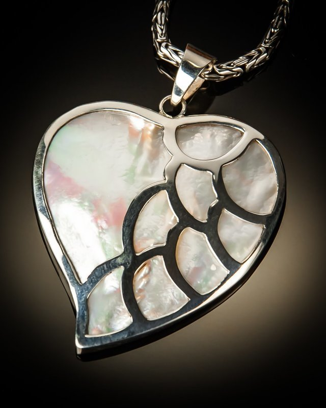 Mother of Pearl Heart With Sterling Silver Scallop Pendant