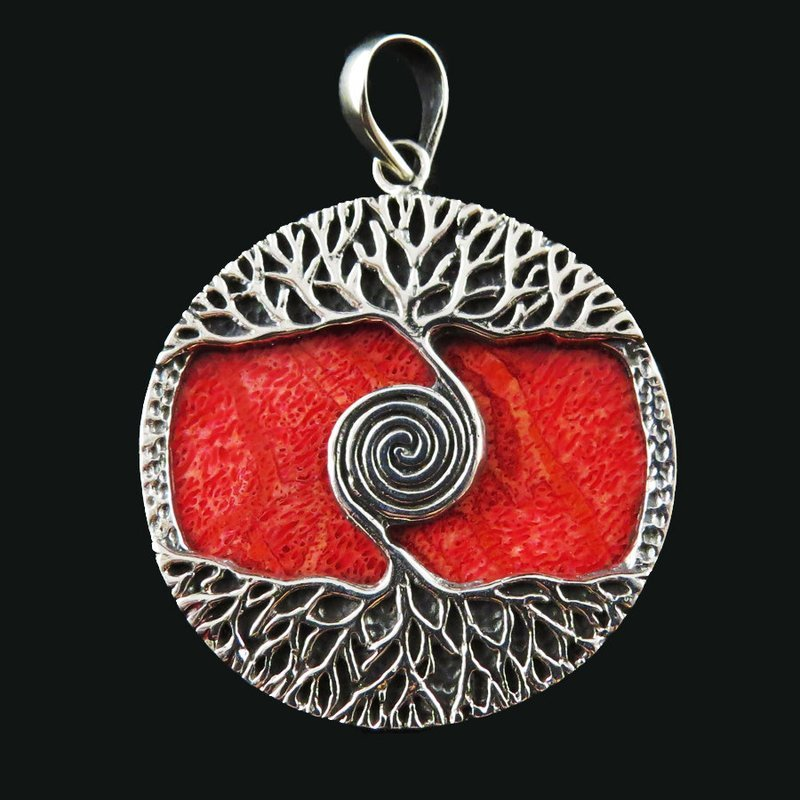 Red Coral Sterling Silver Tree of Life Pendant