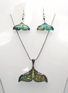 Mermaid Tail Necklace and Earrings Set