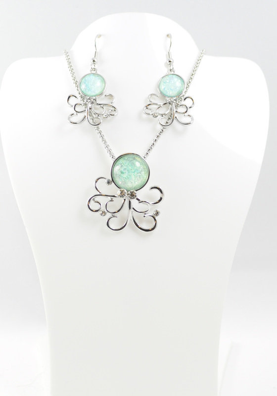 Octopus Necklace and Earrings Set