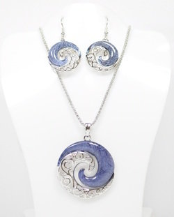 YinYang Wave Necklace and Earrings Set