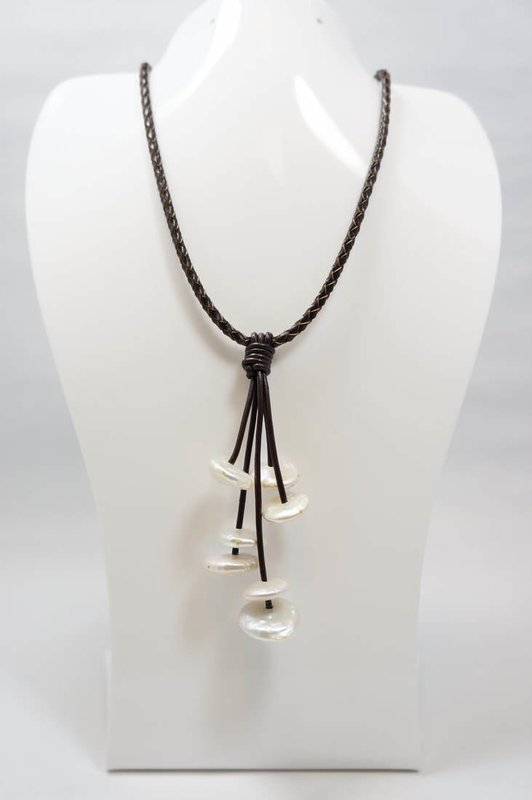 Black Leather with White Coin Pearl Necklace