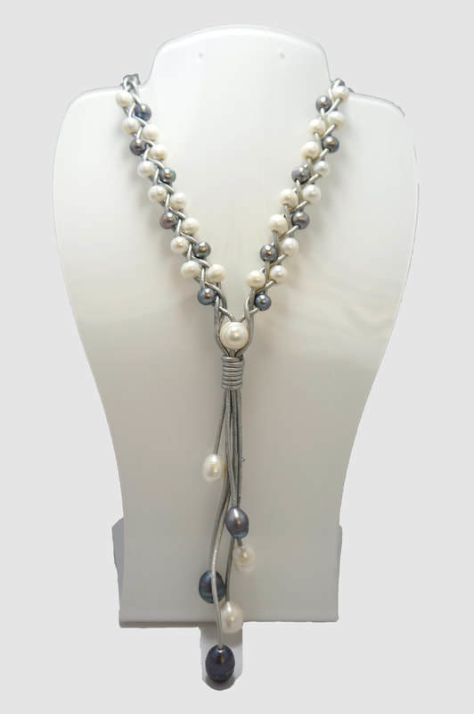 Gray Leather Braided with Gray and White Pearls