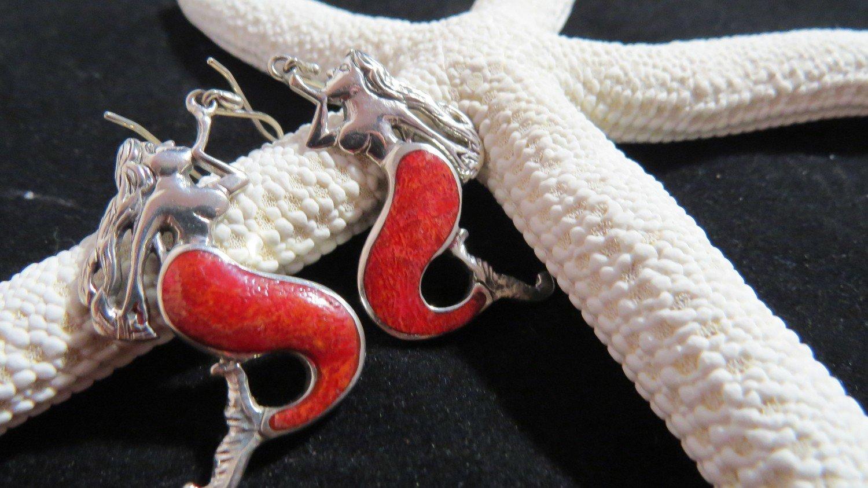 Red Coral Sterling Silver Mermaid Earrings
