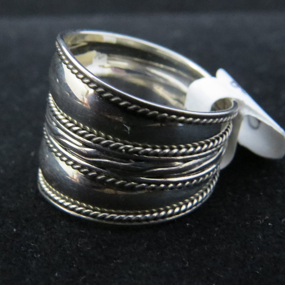Sterling Silver Wide Band with Center Design