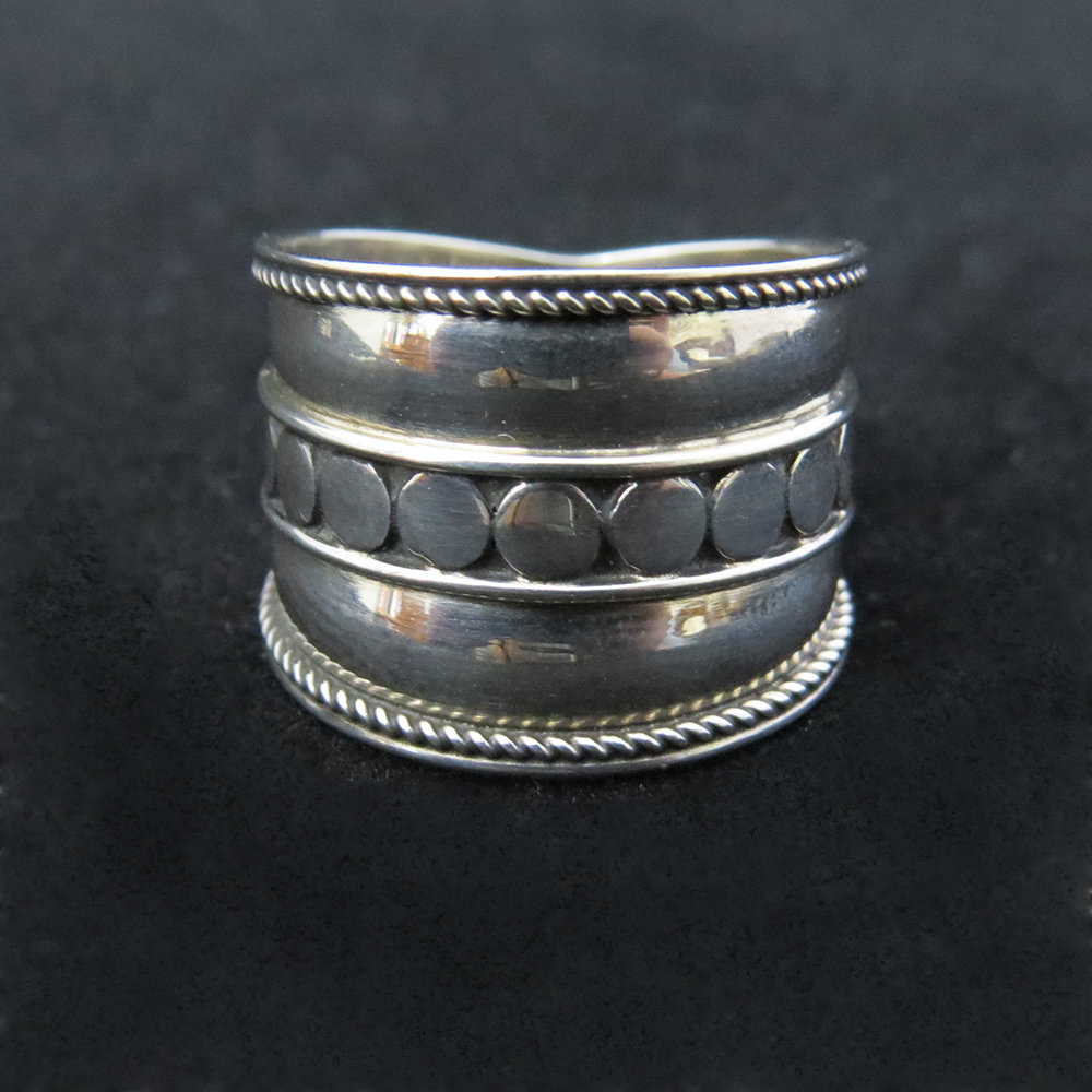 Sterling Silver Wide Band With Dot Design Center