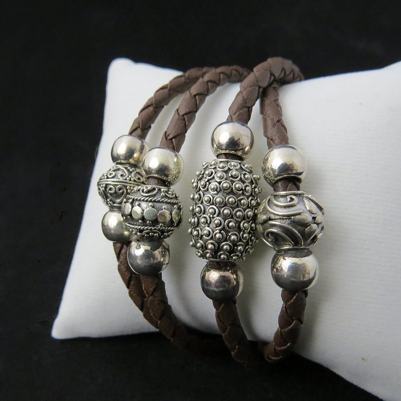 Brown Leather Bali Sterling Silver Beads