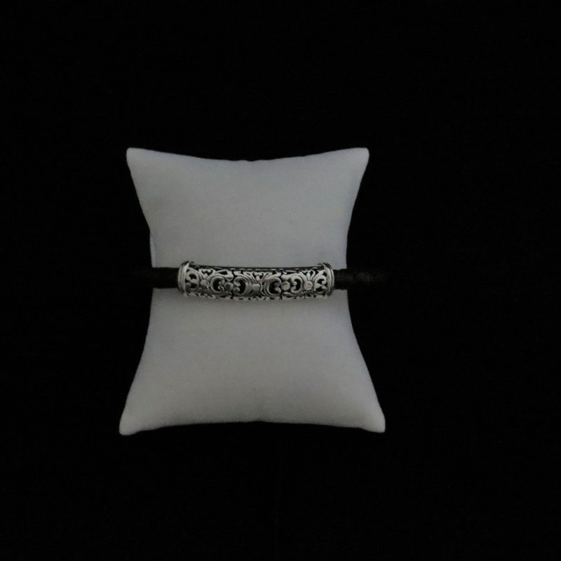 Sterling Silver Cutout Design with Black Leather Bracelet