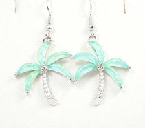Palm Tree Light Blue Earrings