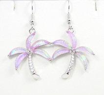 Palm Tree Beach Pink Earrings