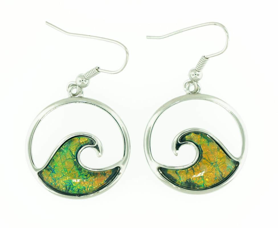 Wave Green Earrings
