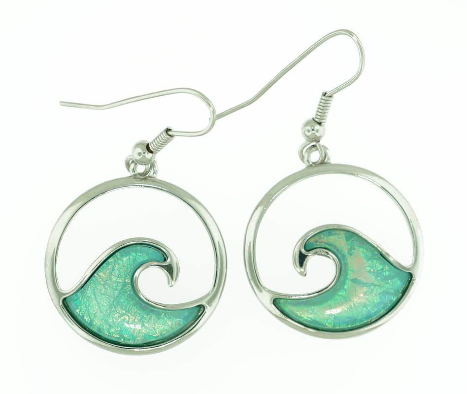 Wave of Tropical Sea Water Earrings